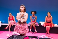 "Stephanie Panozzo, Jessica Paterson, Shalom Brune-Franklin and Brittany Morel in ""Girl Shut Your Mouth"" for Black Swan's ""Loaded"" double bill production at the Studio Underground, State Theatre Centre, Perth."