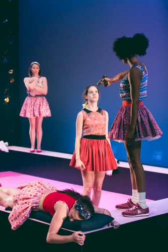 07 Jessica Paterson, Shalom Brune-Franklin, Brittany Morel, Stephanie Panozzo (laying). Girl Shut Your Mouth. Image by Daniel James Grant